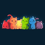 Rainbow Kitties t-shirt TeeTurtle navy t-shirt featuring a row of cats each in a different color of the rainbow