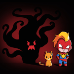 Release the Flerken t-shirt officially licensed Marvel t-shirt featuring Captain Marvel and Chewie with a big black wavy shadow behind them with red eyes