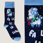 Christmas Llama Socks navy crew socks featuring a llama with a wreath around its next with the words