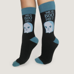 Boo Sheet Socks TeeTurtle black socks featuring an angry looking ghost with its arms crossed