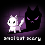 Smol but Scary t-shirt TeeTurtle black t-shirt featuring a white cat looking focused and determined with a black scary looking shadow behind him