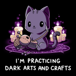 Dark Arts and Crafts t-shirt TeeTurtle black t-shirt featuring a dark purple cat sewing a voodoo doll with lit candles behind him