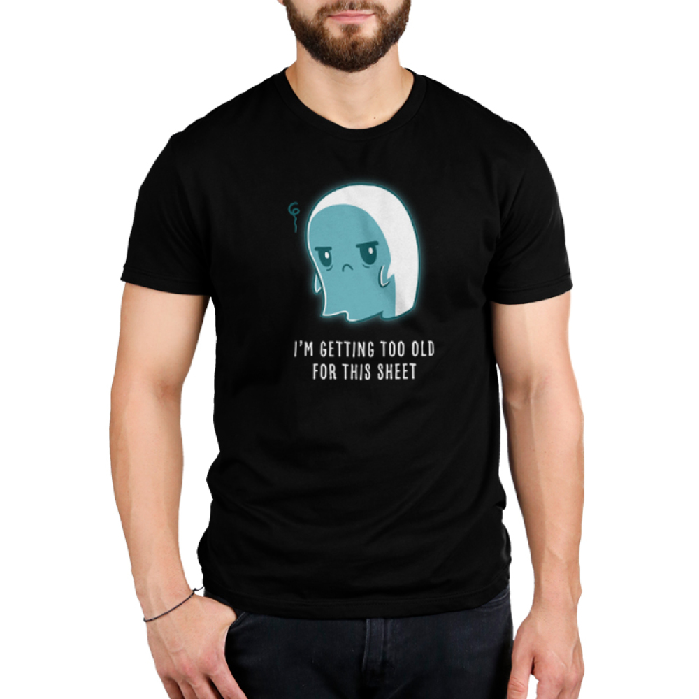 I'm Getting Too Old for this Sheet Men's t-shirt model TeeTurtle black t-shirt featuring a sad looking ghost