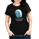 I'm Getting Too Old for this Sheet Women's t-shirt model TeeTurtle black t-shirt featuring a sad looking ghost