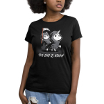 The End is Neigh (Glow) Women's t-shirt model TeeTurtle black t-shirt featuring a cat in a grim reaper costume with a scythe in his hand riding a unicorn in a grim reaper costume