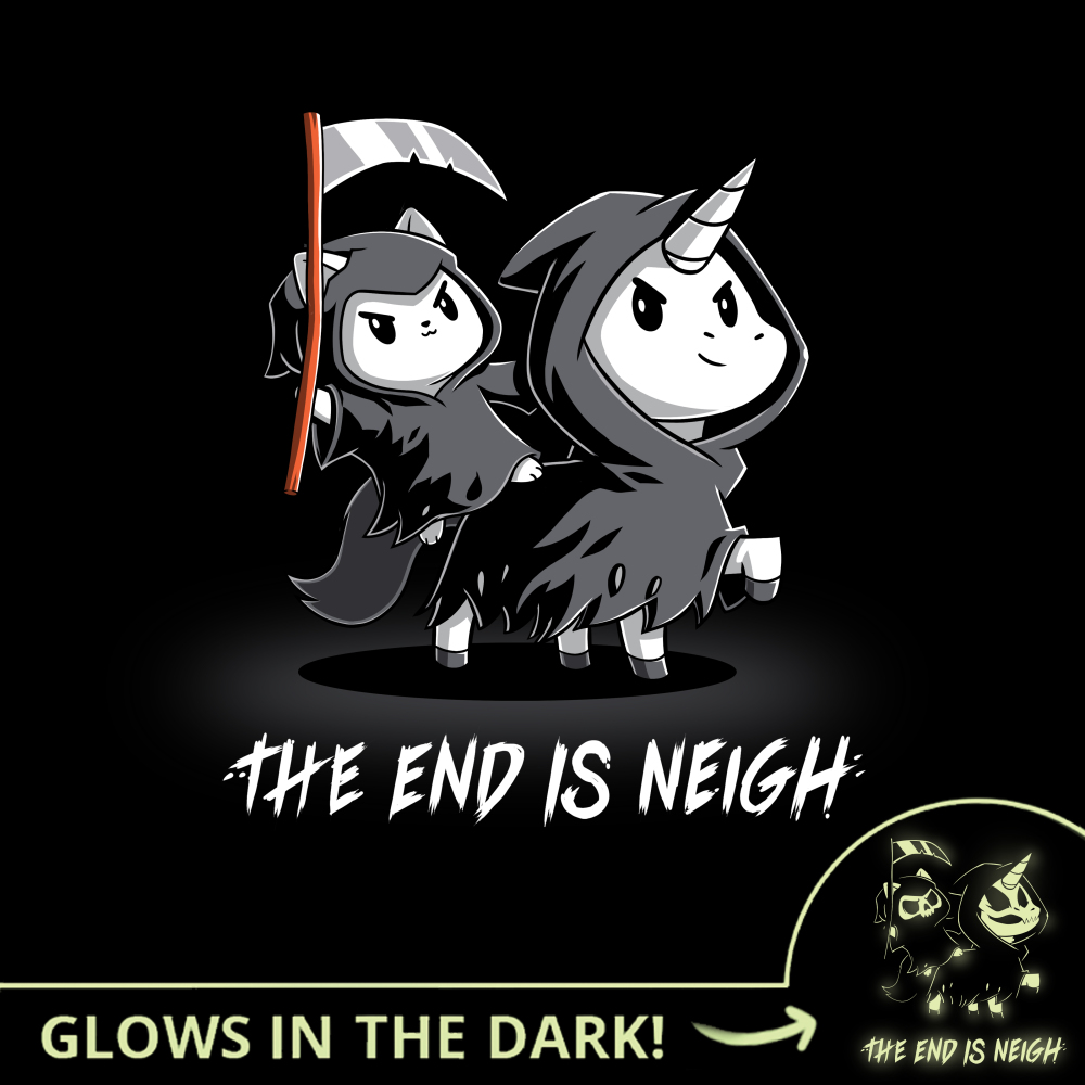 The End is Neigh (Glow) t-shirt TeeTurtle black t-shirt featuring a cat in a grim reaper costume with a scythe in his hand riding a unicorn in a grim reaper costume
