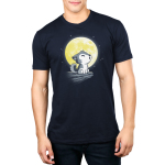 Lil' Werewolf Men's t-shirt model TeeTurtle navy t-shirt featuring a little wolf pup howling on a rock ledge in front of a big full yellow moon