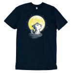 Lil' Werewolf t-shirt TeeTurtle navy t-shirt featuring a little wolf pup howling on a rock ledge in front of a big full yellow moon