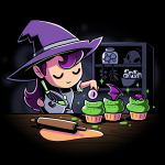 Trick or Treats t-shirt TeeTurtle black t-shirt featuring a witch with purple hair and a purple hat making cupcakes with green icing and eye balls, bat wings, and spiders on top
