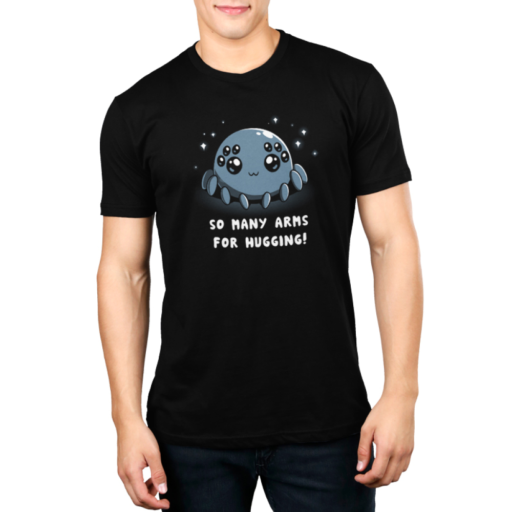 Spider Hugs Men's t-shirt model TeeTurtle black t-shirt featuring a gray spider with 8 big cute eyes with sparkles behind him