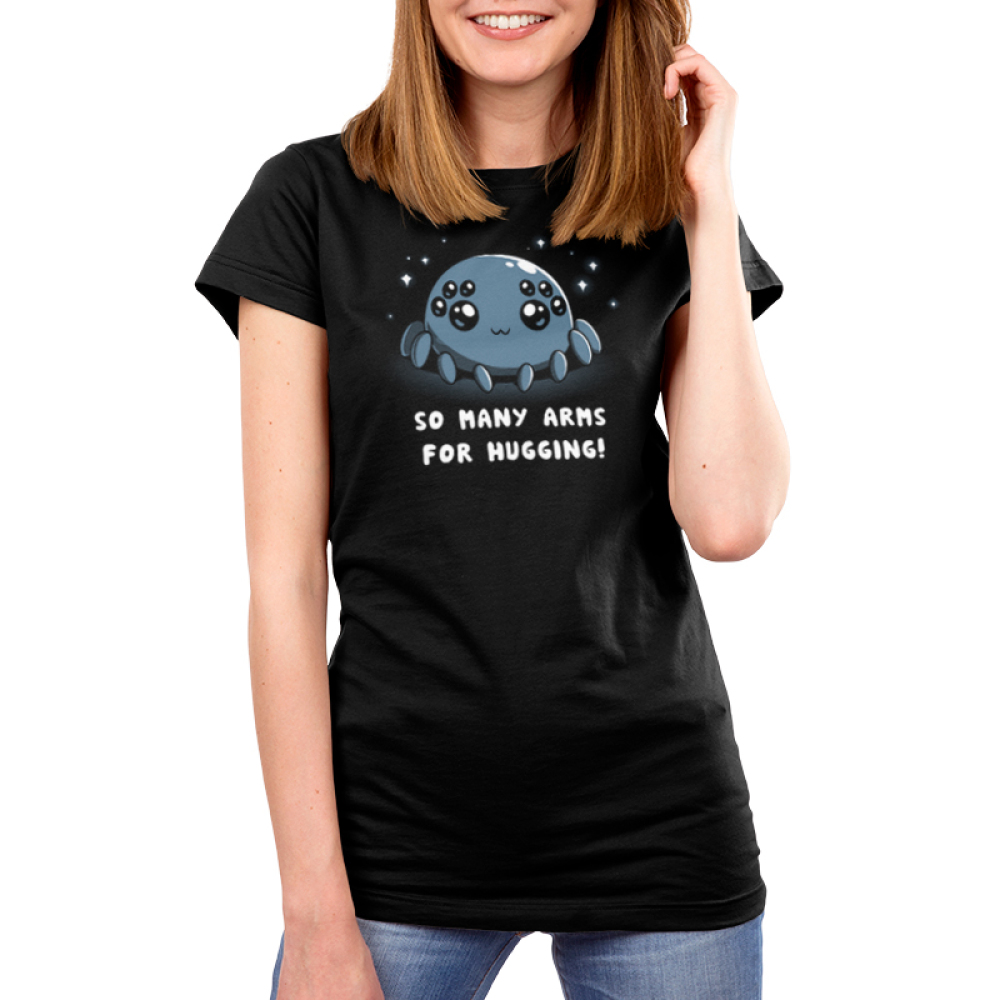 Spider Hugs Women's t-shirt model TeeTurtle black t-shirt featuring a gray spider with 8 big cute eyes with sparkles behind him