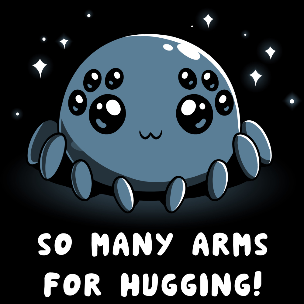 Spider Hugs t-shirt TeeTurtle black t-shirt featuring a gray spider with 8 big cute eyes with sparkles behind him