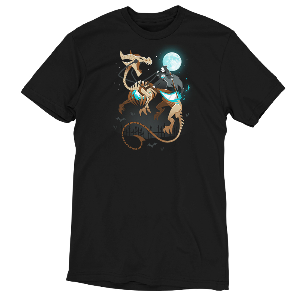 Grim Night t-shirt TeeTurtle black t-shirt featuring a grim reaper riding a huge skeleton dragon under a full moon