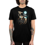 Grim Night Men's t-shirt model TeeTurtle black t-shirt featuring a grim reaper riding a huge skeleton dragon under a full moon