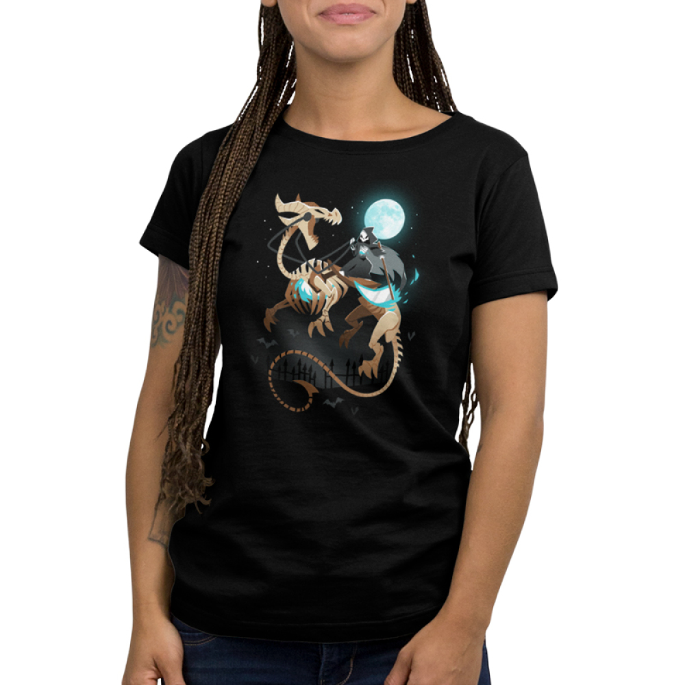 Grim Night Women's t-shirt model TeeTurtle black t-shirt featuring a grim reaper riding a huge skeleton dragon under a full moon