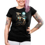 Grim Night Junior's t-shirt model TeeTurtle black t-shirt featuring a grim reaper riding a huge skeleton dragon under a full moon