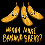 Banana Bread t-shirt TeeTurtle black t-shirt featuring 3 very ripe bananas with brown spots looking frightened with big white eyes