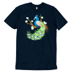 Proud Peacock t-shirt TeeTurtle navy t-shirt featuring a blue and green peacock perched on a tree branch that has white flowers stemming off the branches