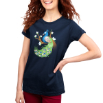 Proud Peacock Women's t-shirt model TeeTurtle navy t-shirt featuring a blue and green peacock perched on a tree branch that has white flowers stemming off the branches