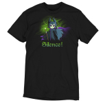 Silence! t-shirt officially licensed black Disney t-shirt featuring Maleficent holding her staff with one arm reached out with a green haze behind her
