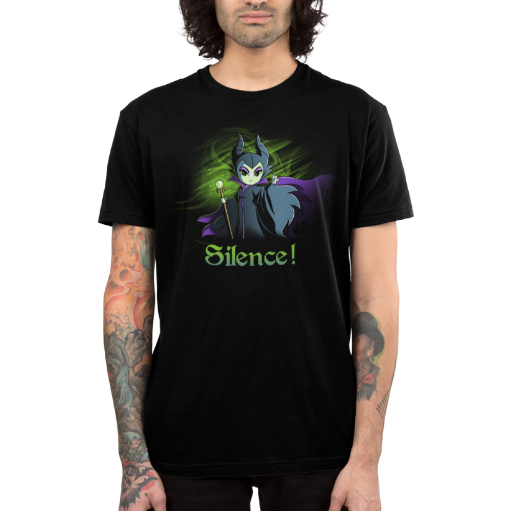 Silence! Men's t-shirt model officially licensed black Disney t-shirt featuring Maleficent holding her staff with one arm reached out with a green haze behind her