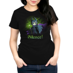 Silence! Women's t-shirt model officially licensed black Disney t-shirt featuring Maleficent holding her staff with one arm reached out with a green haze behind her