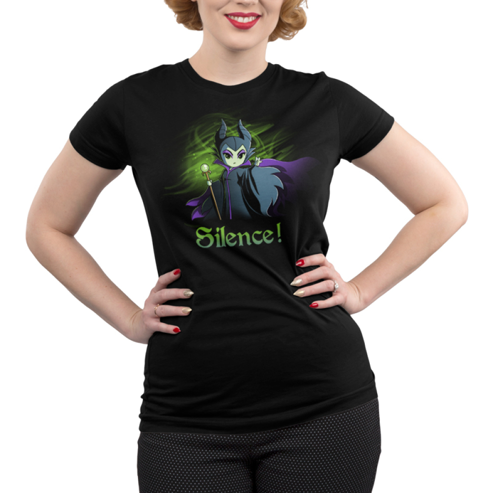 Silence! Junior's t-shirt model officially licensed black Disney t-shirt featuring Maleficent holding her staff with one arm reached out with a green haze behind her