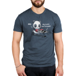 Sad Panda Men's t-shirt model TeeTurtle denim blue t-shirt featuring a sad looking panda holding a tray of burnt cookies with a pair of red baking mitts