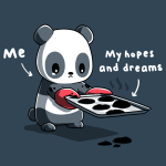 Sad Panda t-shirt TeeTurtle denim blue t-shirt featuring a sad looking panda holding a tray of burnt cookies with a pair of red baking mitts