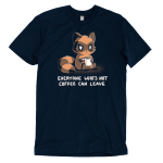 Everyone Who's Not Coffee Can Leave t-shirt TeeTurtle navy t-shirt featuring a tired looking raccoon sitting down holding a white coffee mug
