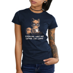 Everyone Who's Not Coffee Can Leave Junior's t-shirt model TeeTurtle navy t-shirt featuring a tired looking raccoon sitting down holding a white coffee mug