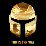 This is the Way t-shirt officially licensed black Star Wars t-shirt featuring the Mandalorian helmet and within that helmet are golden clouds, and the mandalorian with a desert scene behind him