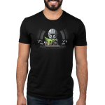 Co-Pilot Men's t-shirt model officially licensed black Star Wars t-shirt featuring The Child reaching for a lever while sitting on Mando's lap in a spaceship