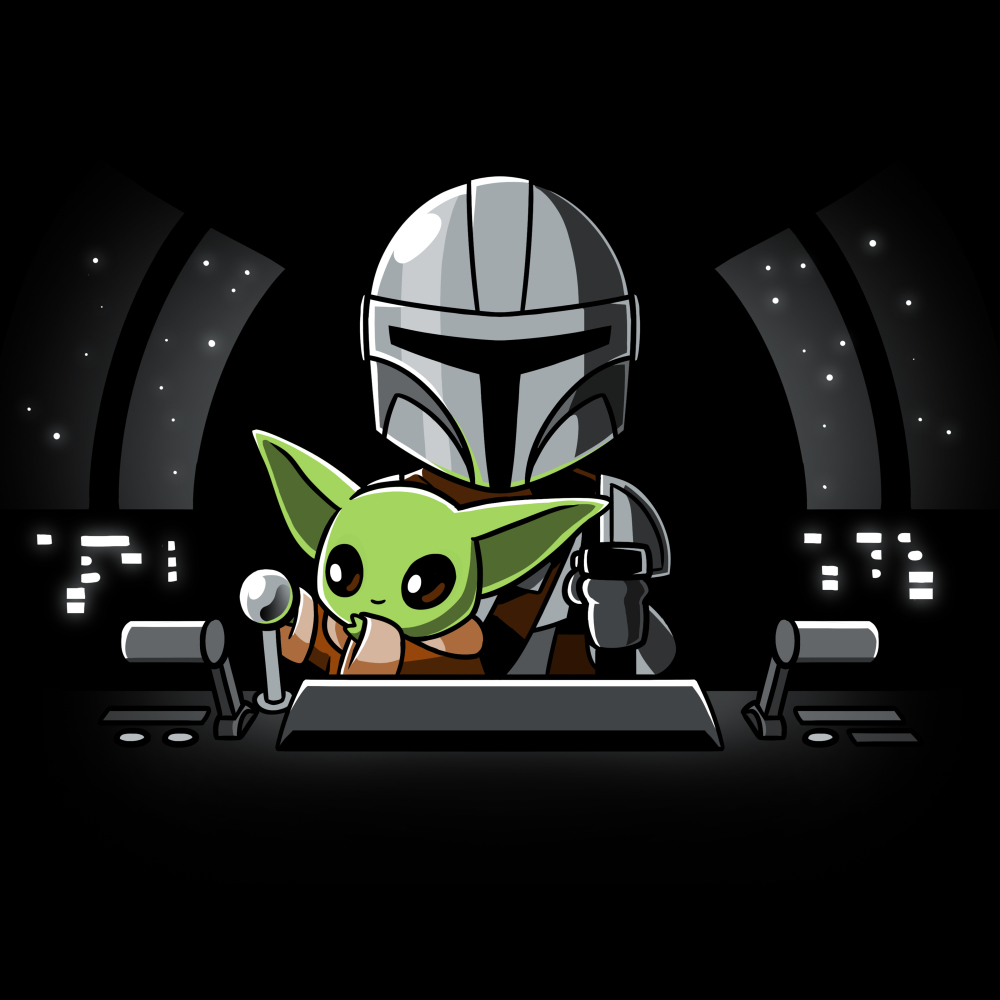 Co-Pilot t-shirt officially licensed black Star Wars t-shirt featuring The Child reaching for a lever while sitting on Mando's lap in a spaceship