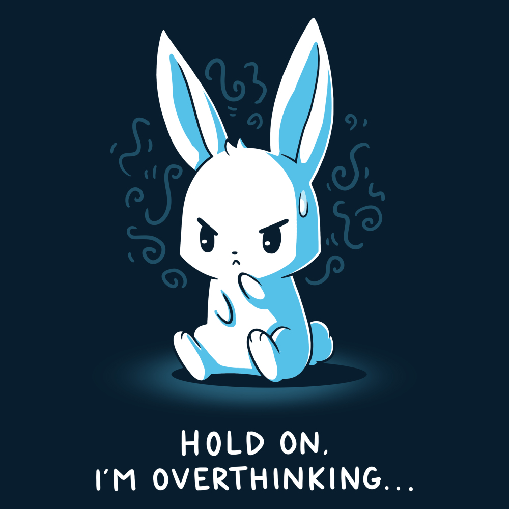 I'm Overthinking t-shirt TeeTurtle navy t-shirt featuring a bunny sitting down with its paw on its chin and a drip of sweat on its forehead with squiggles behind his head