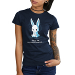 I'm Overthinking Junior's t-shirt model TeeTurtle navy t-shirt featuring a bunny sitting down with its paw on its chin and a drip of sweat on its forehead with squiggles behind his head