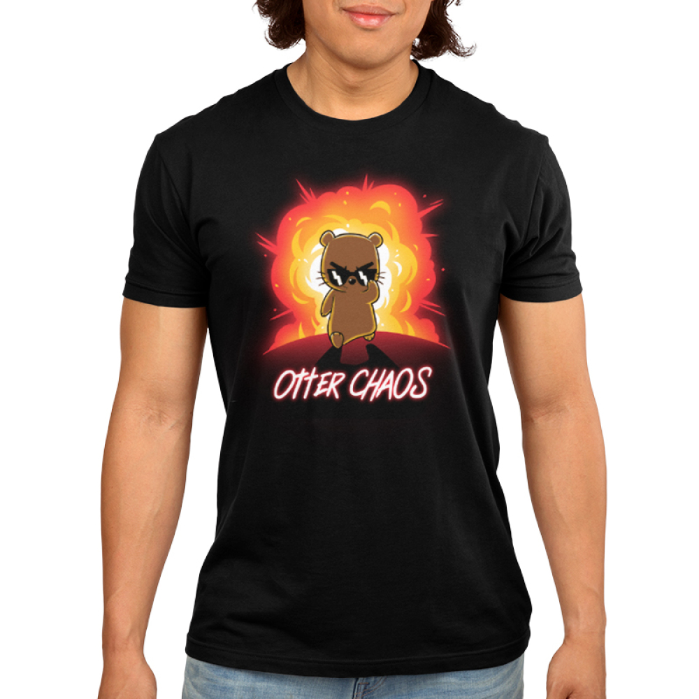 Otter Chaos Men's t-shirt model TeeTurtle black t-shirt featuring an otter in sunglasses walking away from a huge red and orange explosion behind him