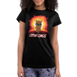 Otter Chaos Junior's t-shirt model TeeTurtle black t-shirt featuring an otter in sunglasses walking away from a huge red and orange explosion behind him