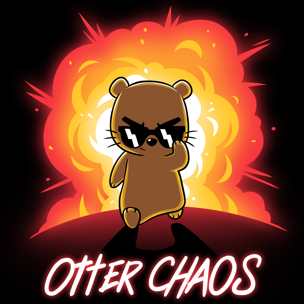 Otter Chaos t-shirt TeeTurtle black t-shirt featuring an otter in sunglasses walking away from a huge red and orange explosion behind him