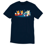 A Foxy Tail t-shirt TeeTurtle navy t-shirt featuring two orange foxes staring at a light orange smiling kitsune with 9 sparkling rainbow tails