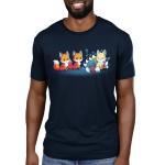 A Foxy Tail Men's t-shirt model TeeTurtle navy t-shirt featuring two orange foxes staring at a light orange smiling kitsune with 9 sparkling rainbow tails