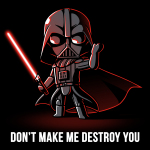 Don't Make Me Destroy You t-shirt officially licensed black Star Wars t-shirt featuring Darth Vadar with on fist held up and a red lighsaber in the other hand