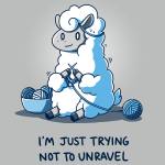 Trying Not to Unravel t-shirt TeeTurtle silver t-shirt featuring a llama sitting on the ground with a nervous looking face, knitting with blue yarn with a bowl of yawn next to him