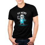 Fit Nerd Men's t-shirt model TeeTurtle black t-shirt featuring a buff panda with glasses and a blue tank top on with books under one arm and a video game controller in the other