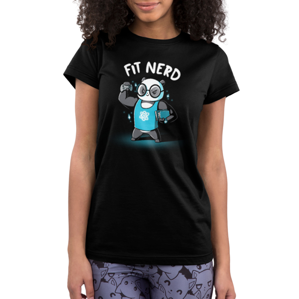 Fit Nerd Junior's t-shirt model TeeTurtle black t-shirt featuring a buff panda with glasses and a blue tank top on with books under one arm and a video game controller in the other