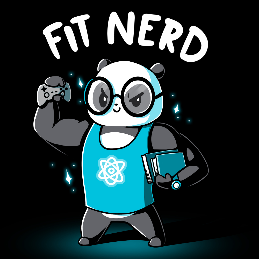 Fit Nerd t-shirt TeeTurtle black t-shirt featuring a buff panda with glasses and a blue tank top on with books under one arm and a video game controller in the other