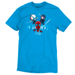 Spider People t-shirt officially licensed cobalt blue Marvel t-shirt featuring Spider Man in his red suit holding onto a spider web in the middle, and him in his white suit on the left and black suit on the right