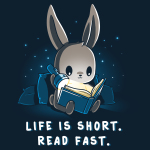 Life is Short. Read Fast. t-shirt TeeTurtle navy t-shirt featuring a bunny sitting up against some pillows reading a book with a flashlight with stars behind him