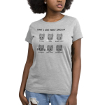 I Love Sarcasm Women's t-shirt model TeeTurtle silver t-shirt featuring six gray cats acting out six sarcastic cues - eye rolls, sighs, blank stares, air quotes, mean jokes, enthusiasm