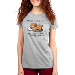 Today's Not the Day Women's t-shirt model TeeTurtle silver t-shirt featuring a sloth sleeping on the ground with it's armed wrapped around a white pillow